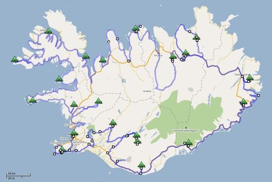 Trajet d\'Islande