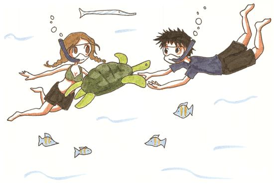 Tortues en mer